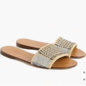 JCREW slide sandals in metallic raffia